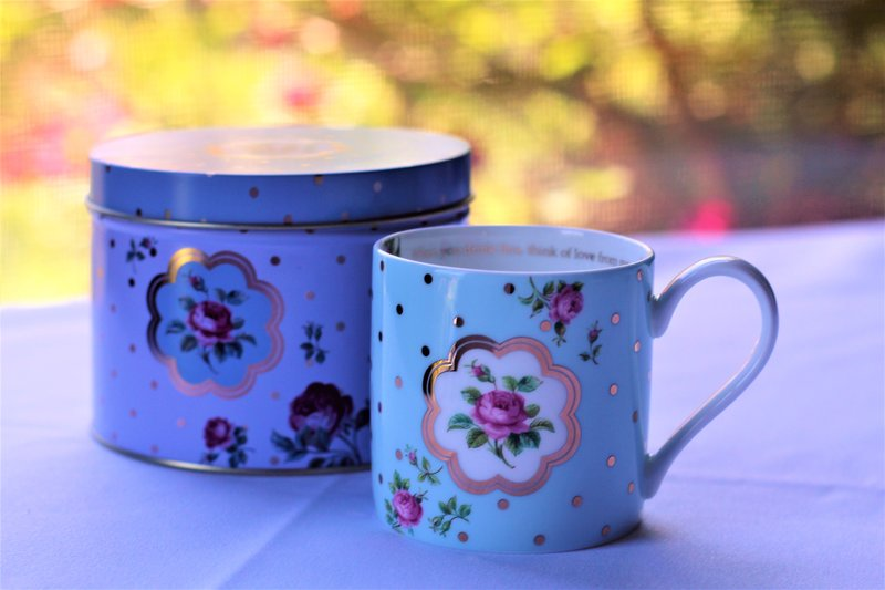 Celebrate with Hot Springs & High Tea for Two & Enjoy a Modern Royal Albert Mug & Tin to take home.